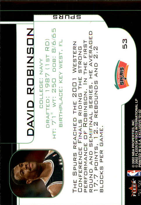 2001-02 Fleer Exclusive #53 David Robinson back image
