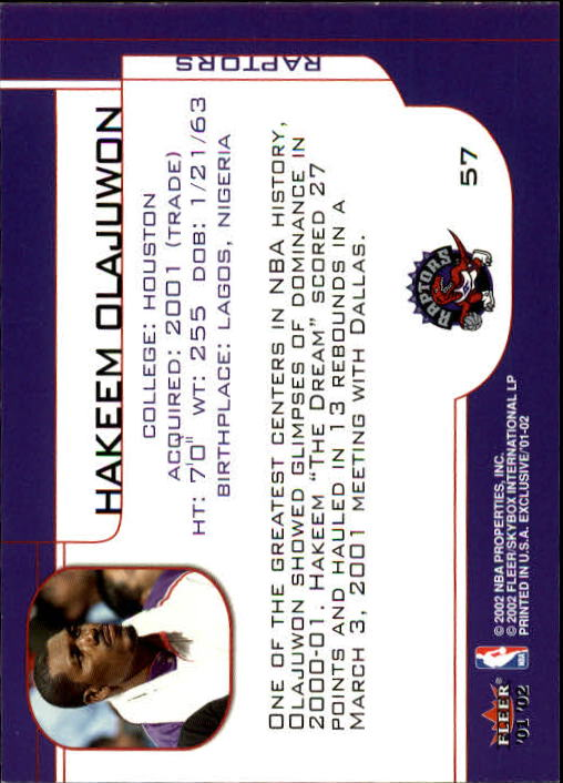 2001-02 Fleer Exclusive #57 Hakeem Olajuwon back image