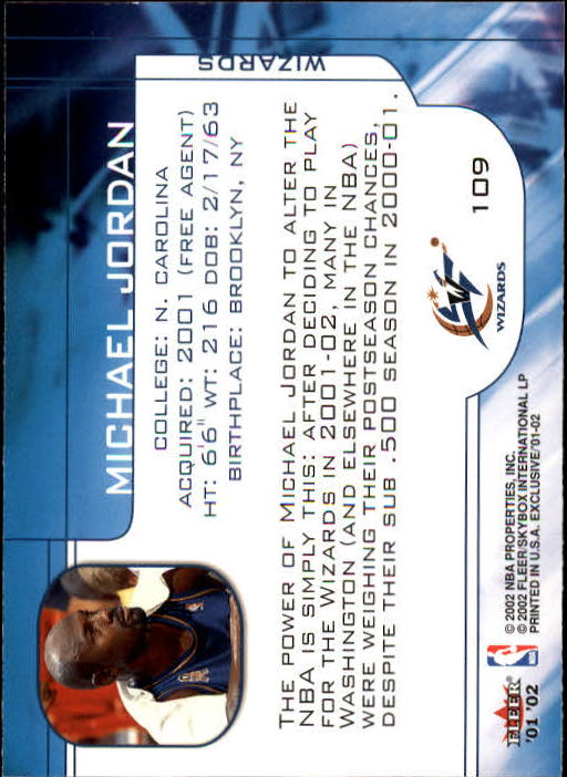 2001-02 Fleer Exclusive #109 Michael Jordan MO back image