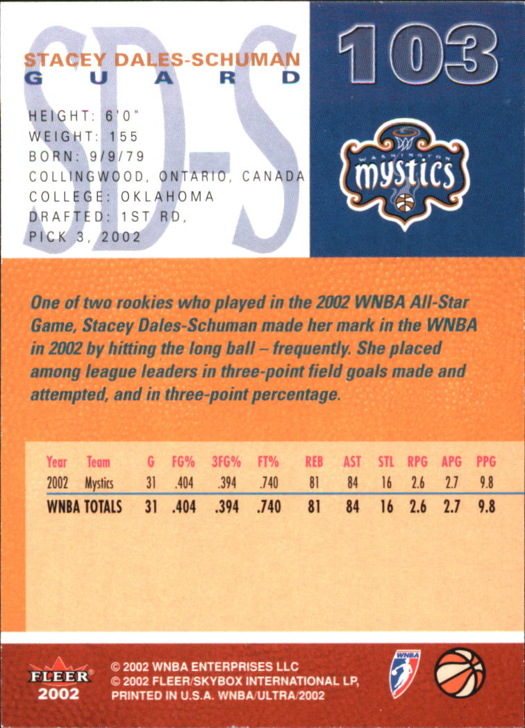 2002 Ultra WNBA #103 Stacey Dales-Schuman RC