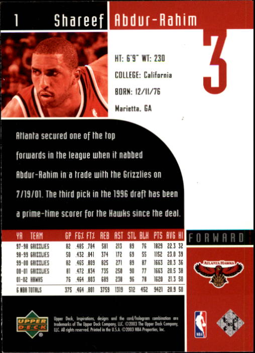 2002-03 Upper Deck Inspirations #1 Shareef Abdur-Rahim back image