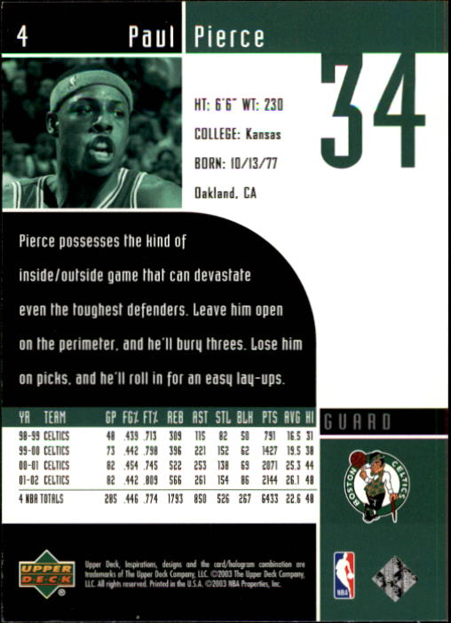 2002-03 Upper Deck Inspirations #4 Paul Pierce back image