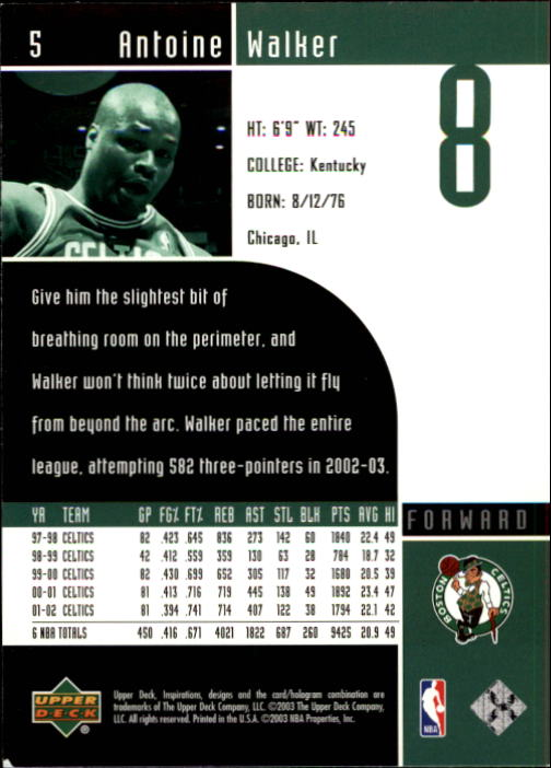 2002-03 Upper Deck Inspirations #5 Antoine Walker back image
