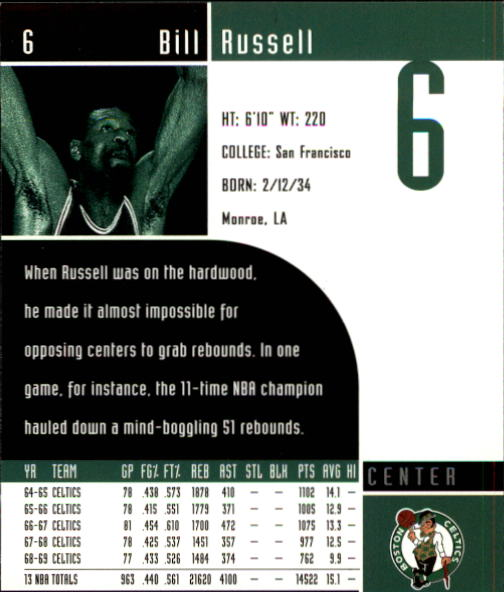 2002-03 Upper Deck Inspirations #6 Bill Russell back image