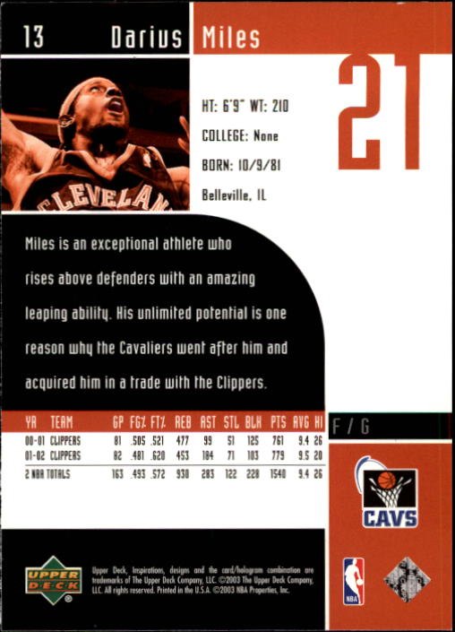 2002-03 Upper Deck Inspirations #13 Darius Miles back image