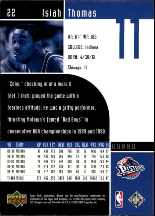 2002-03 Upper Deck Inspirations #22 Isiah Thomas back image