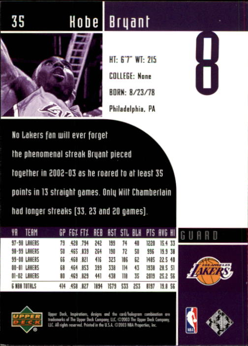 2002-03 Upper Deck Inspirations #35 Kobe Bryant back image