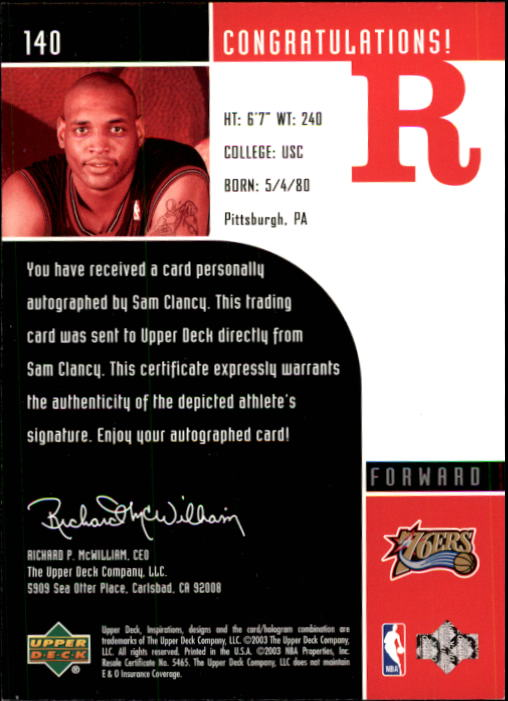2002-03 Upper Deck Inspirations #140 Sam Clancy AU RC/Julius Erving back image