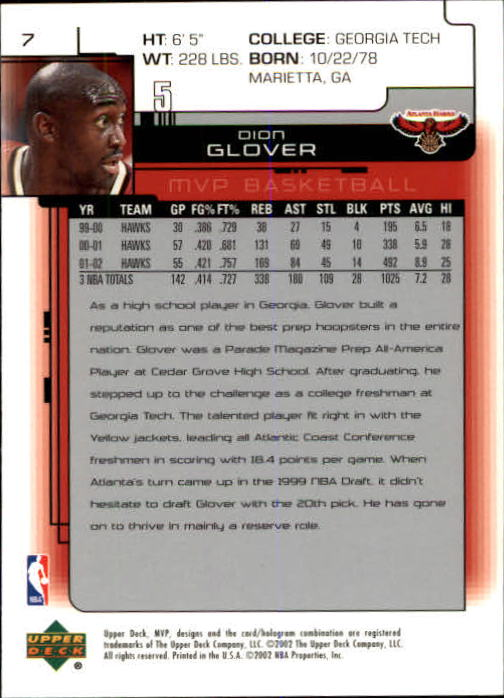 2002-03 Upper Deck MVP #7 Dion Glover back image