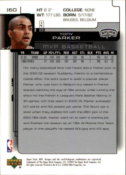 2002-03 Upper Deck MVP #160 Tony Parker back image