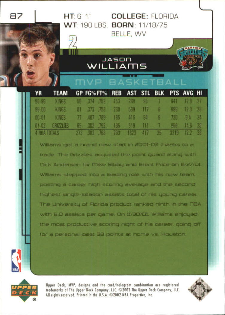 2002-03 Upper Deck MVP Classic #87 Jason Williams back image