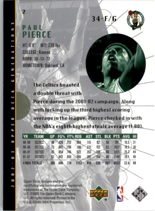 2002-03 Upper Deck Generations #2 Paul Pierce back image