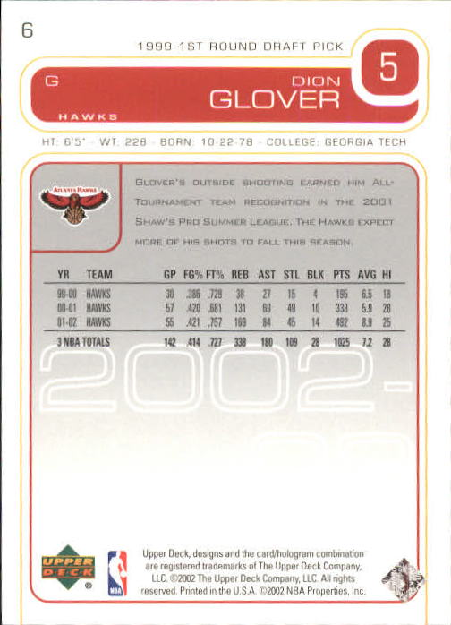 2002-03 Upper Deck #6 Dion Glover back image
