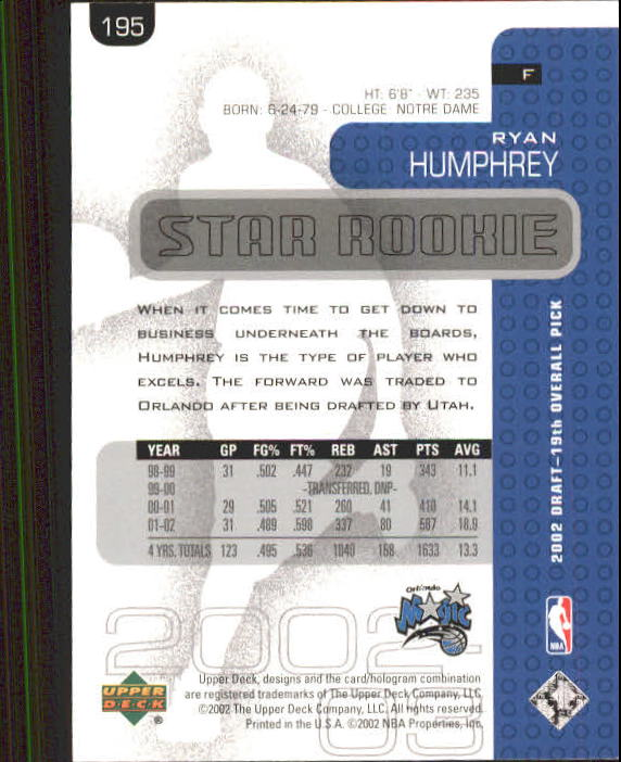 2002-03 Upper Deck #195 Ryan Humphrey RC back image