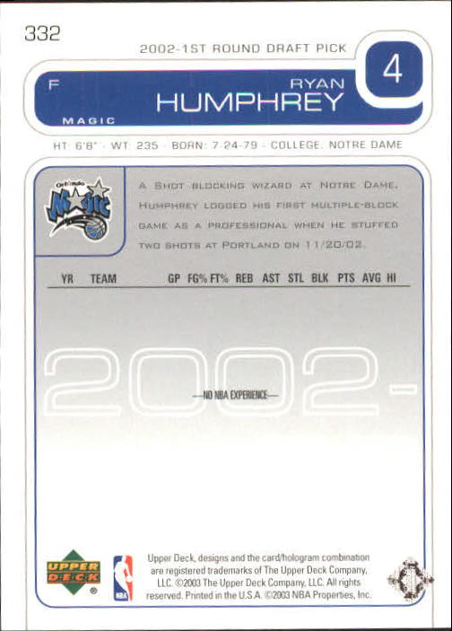 2002-03 Upper Deck #332 Ryan Humphrey