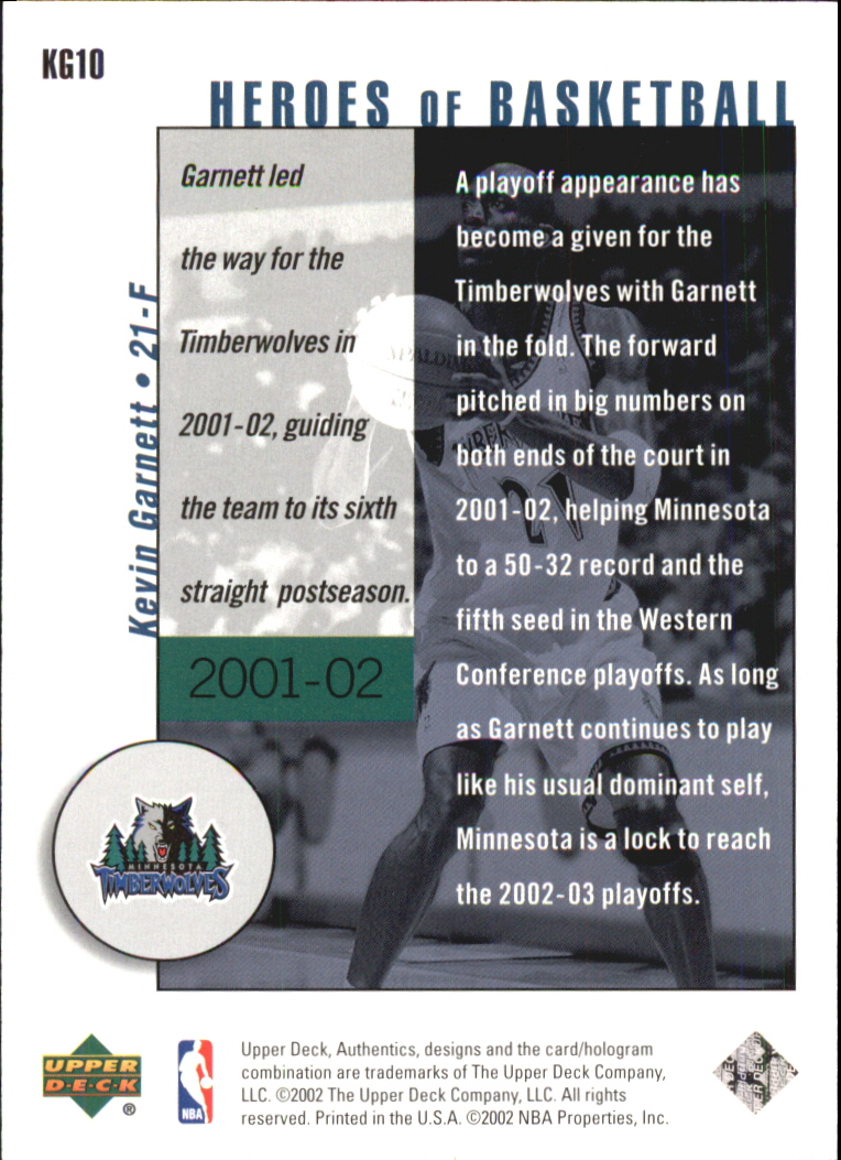 2002-03 UD Authentics Kevin Garnett Heroes of Basketball #KG10 Kevin Garnett back image