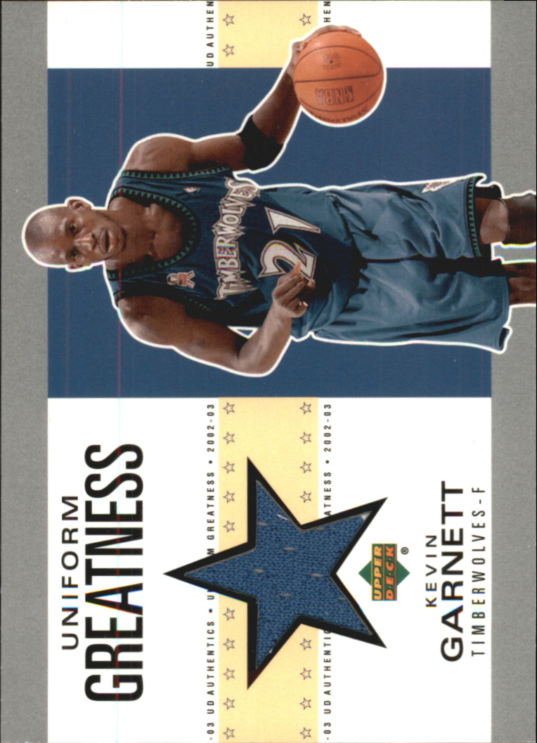 2002-03 UD Authentics Uniform Greatness #KGU Kevin Garnett