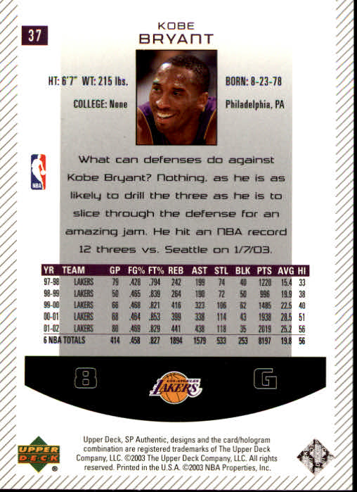 2002-03 SP Authentic #37 Kobe Bryant back image