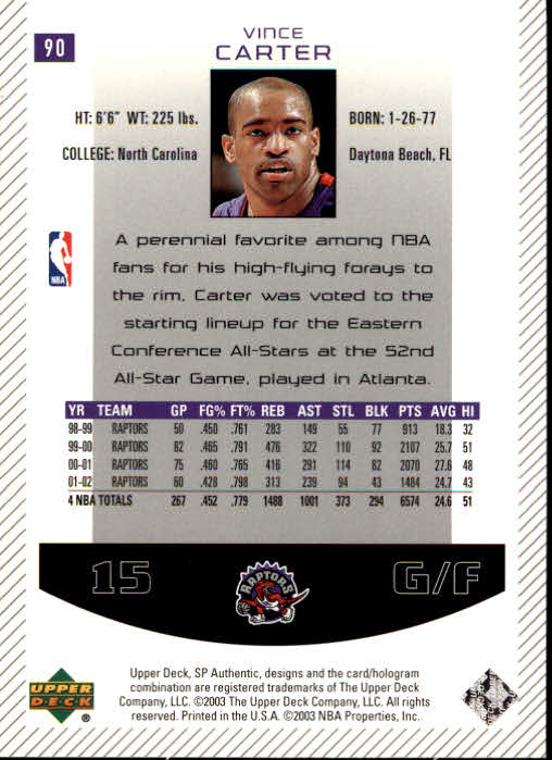 2002-03 SP Authentic #90 Vince Carter back image