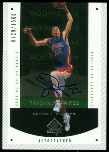 2002-03 SP Authentic #164 Tayshaun Prince AU RC