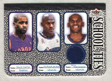 2002-03 Fleer Tradition School Ties Game-Used Singles #ST7B Vince Carter/Michael Jordan/Jerry Stackhouse Pants