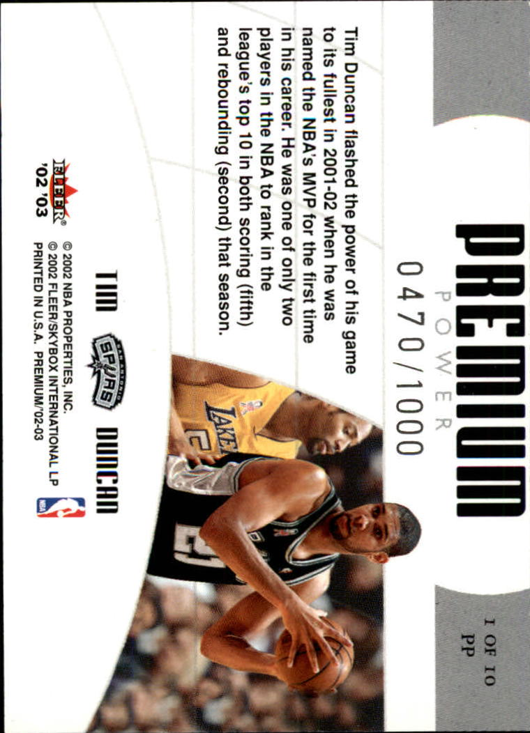 2002-03 Fleer Premium Power #1 Tim Duncan