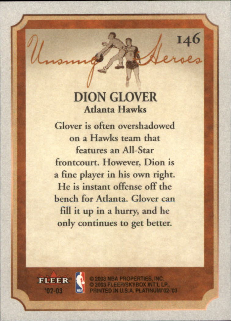2002-03 Fleer Platinum #146 Dion Glover back image