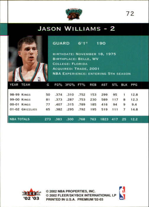2002-03 Fleer Premium #72 Jason Williams back image