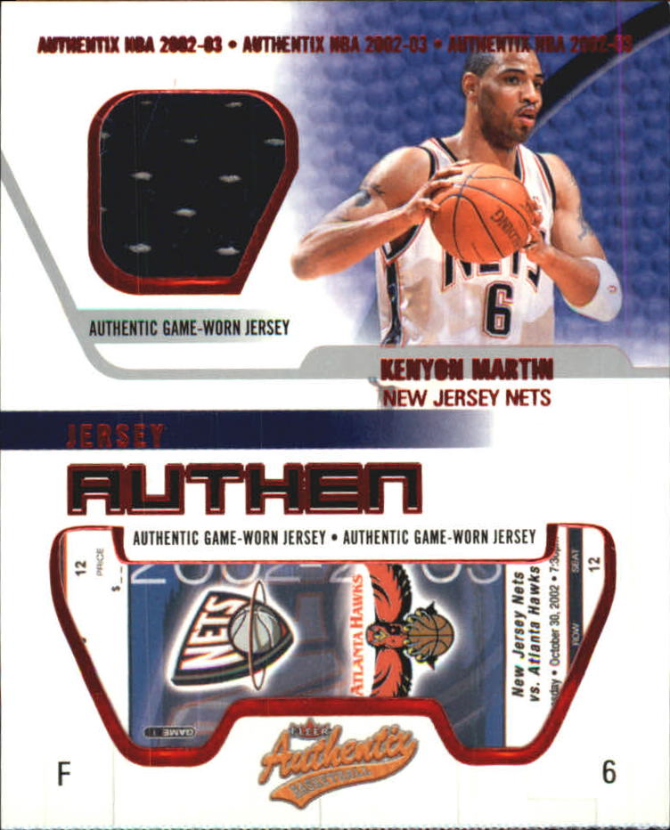 2002-03 Fleer Authentix Jersey Authentix #16 Kenyon Martin