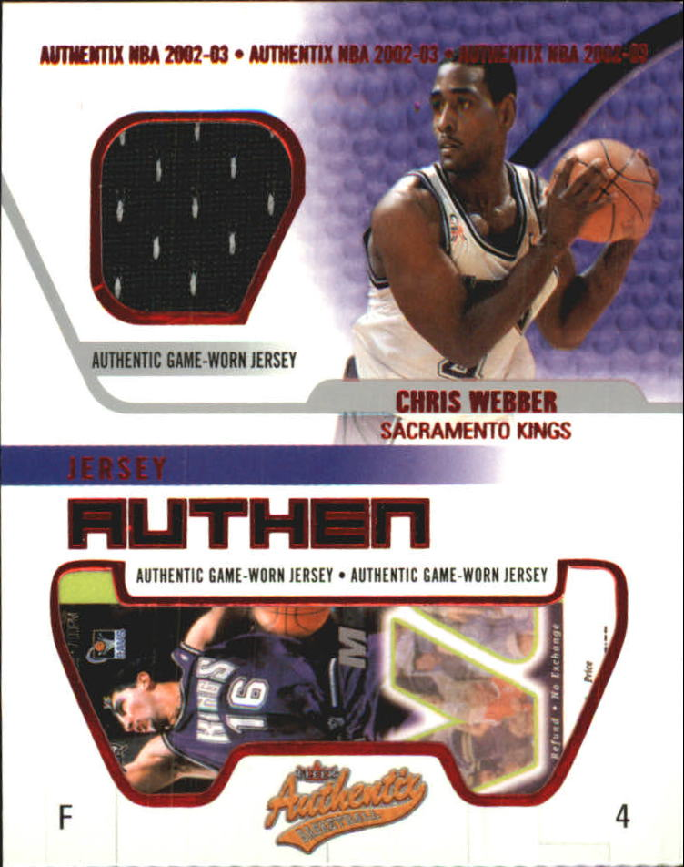 2002-03 Fleer Authentix Jersey Authentix #26 Chris Webber