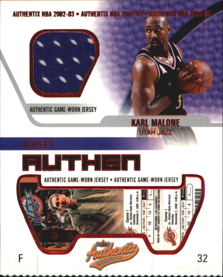 2002-03 Fleer Authentix Jersey Authentix #29 Karl Malone