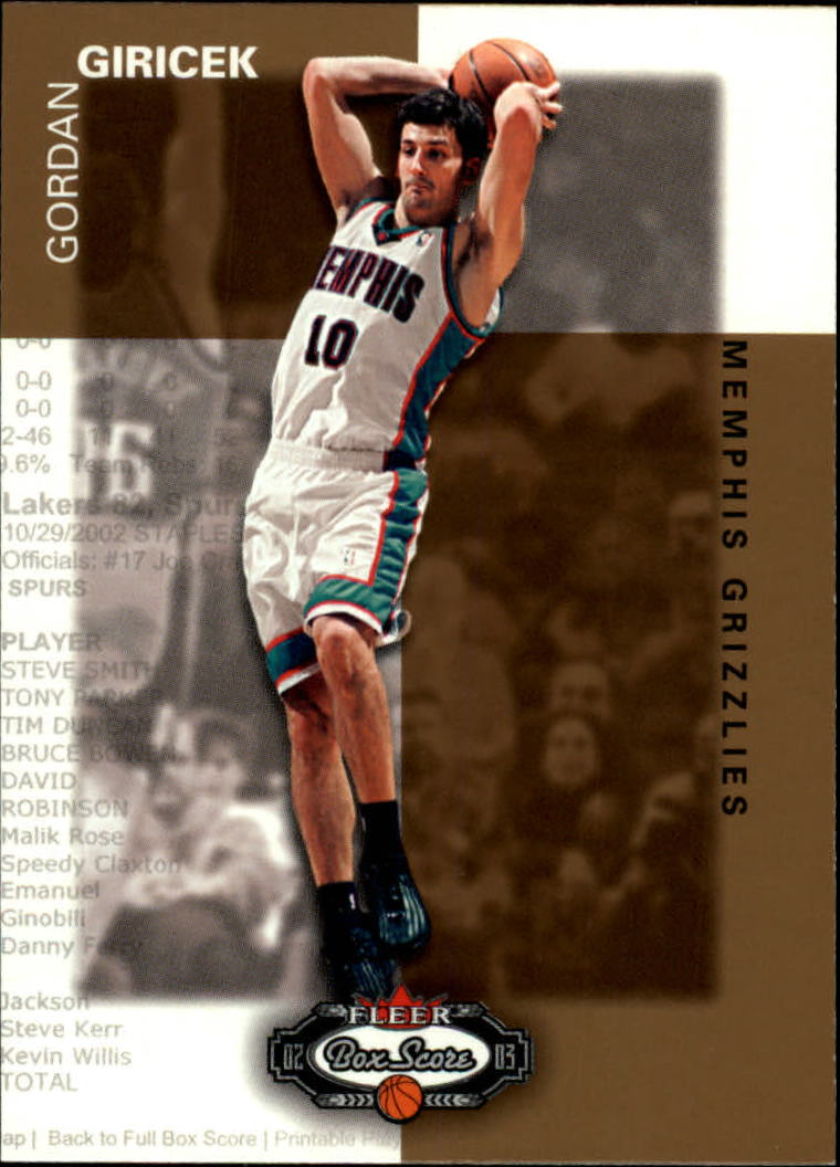 2002-03 Fleer Box Score #171 Gordan Giricek RS RC