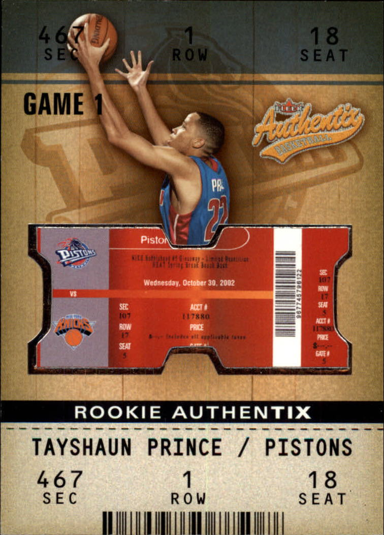 2002-03 Fleer Authentix #135 Tayshaun Prince RC