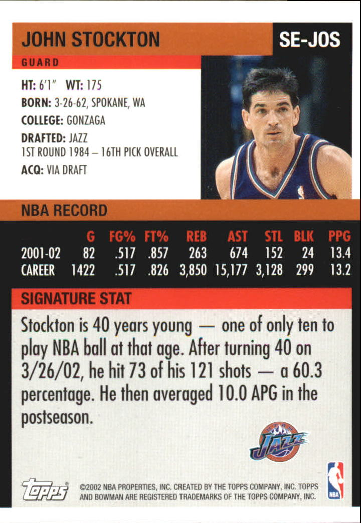 2002-03 Bowman Signature Edition #SEJOS John Stockton back image