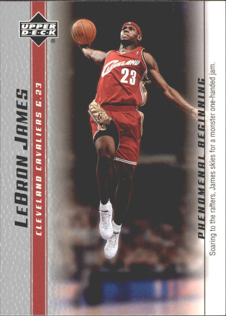 2003-04 Upper Deck Phenomenal Beginning LeBron James #5 LeBron James/Soaring to the rafters