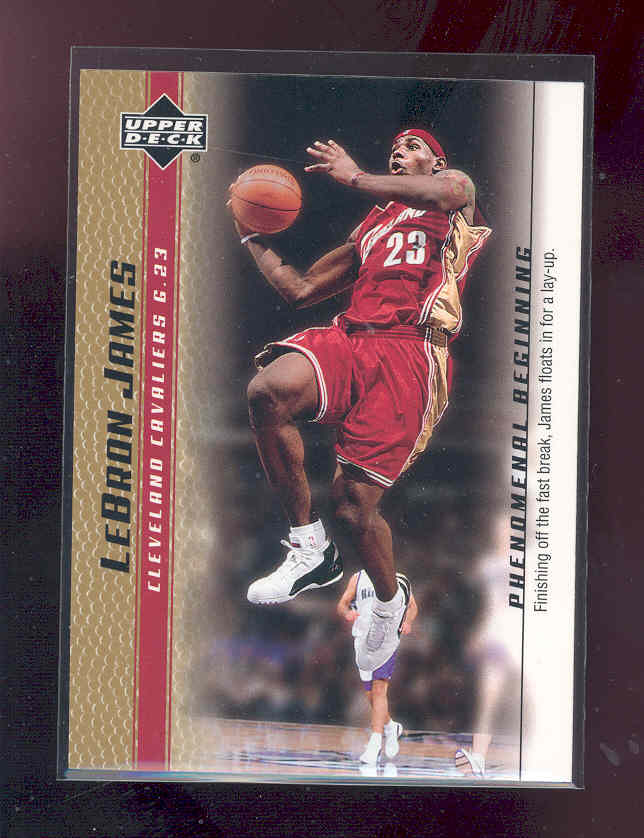 2003-04 Upper Deck Phenomenal Beginning LeBron James Gold #7 LeBron James/Finishing off the fast