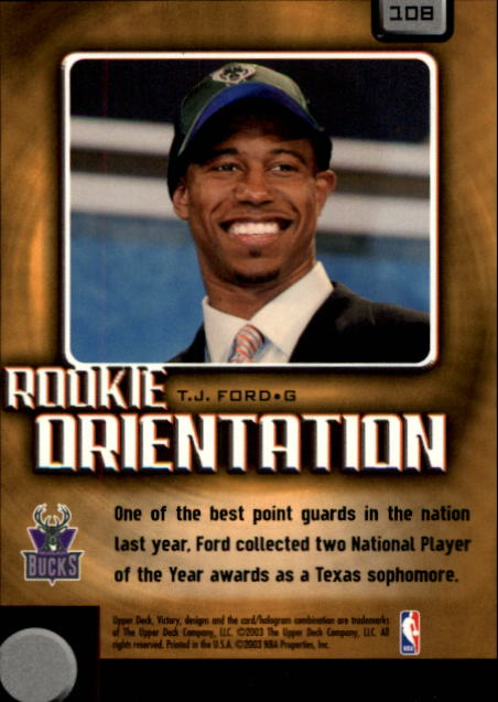 2003-04 Upper Deck Victory #108 T.J. Ford RC back image