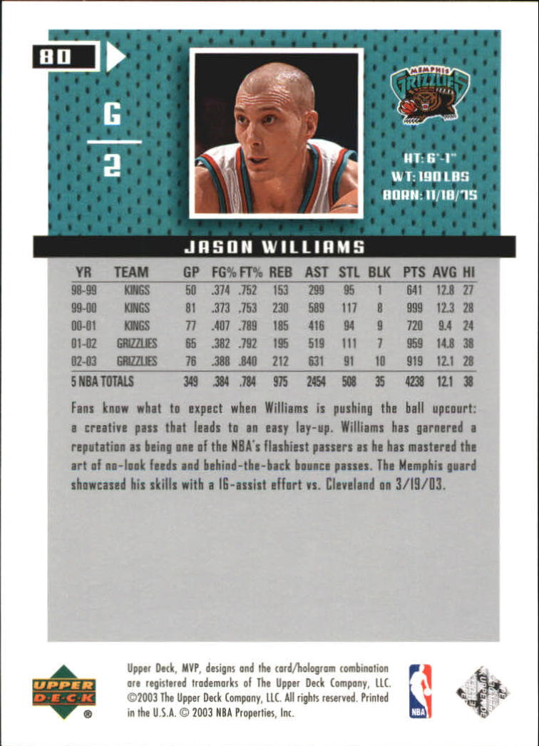 2003-04 Upper Deck MVP Silver #80 Jason Williams