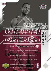 2003-04 Upper Deck MVP Basketball Diary #BD13 LeBron James back image