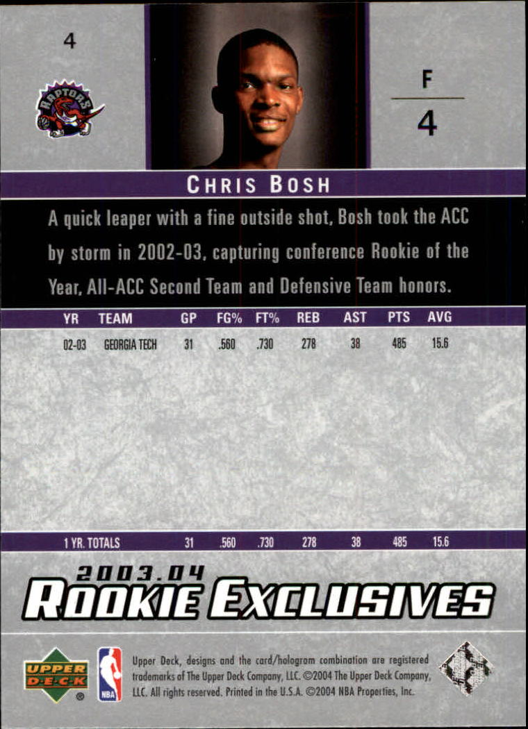 2003-04 Upper Deck Rookie Exclusives #4 Chris Bosh RC back image
