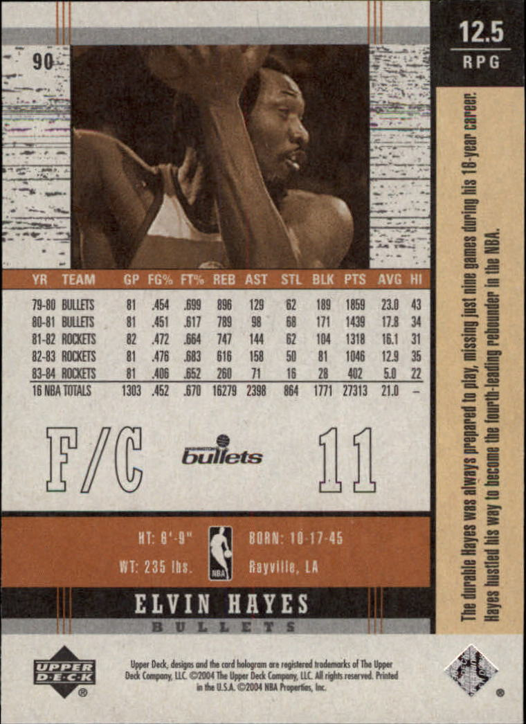 2003-04 Upper Deck Legends Throwback #90 Elvin Hayes back image