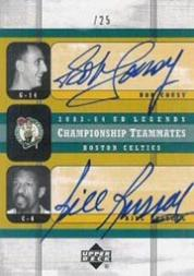2003-04 Upper Deck Legends Championship Teammates Dual Autographs #CR Bob Cousy/Bill Russell