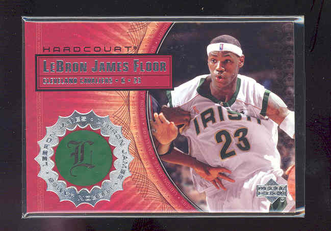 2003-04 Upper Deck Hardcourt LeBron James Floor #LB1 LeBron James/White Jersey White Headband front image