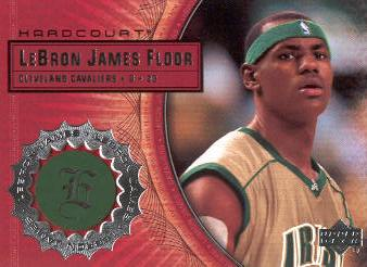 2003-04 Upper Deck Hardcourt LeBron James Floor #LB2 LeBron James/Gold Jersey Green Headband front image
