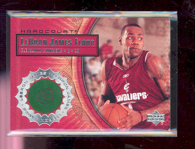 2003-04 Upper Deck Hardcourt LeBron James Floor #LB5 LeBron James/Red Cavs Practice JSY front image