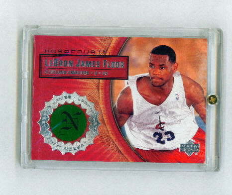 2003-04 Upper Deck Hardcourt LeBron James Floor #LB6 LeBron James/White Cavs Prictice JSY