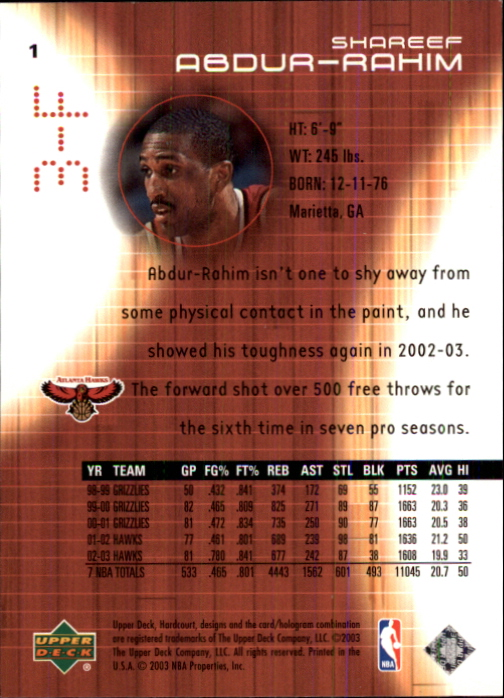 2003-04 Upper Deck Hardcourt #1 Shareef Abdur-Rahim back image