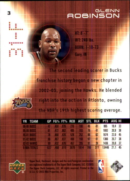 2003-04 Upper Deck Hardcourt #3 Glenn Robinson back image