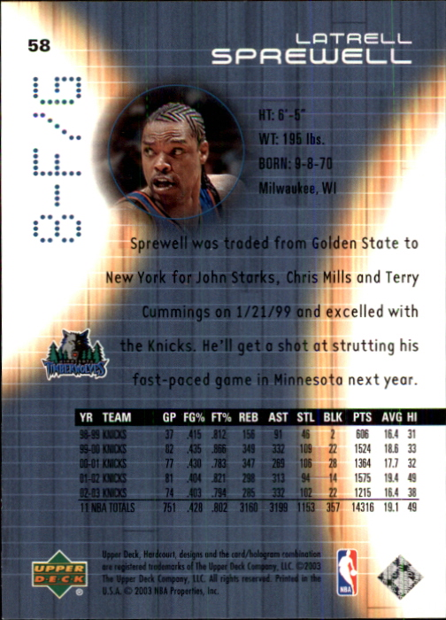 2003-04 Upper Deck Hardcourt #58 Latrell Sprewell back image