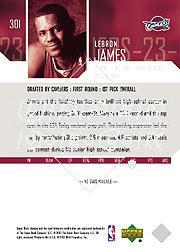 2003-04 Upper Deck #301 LeBron James RC back image